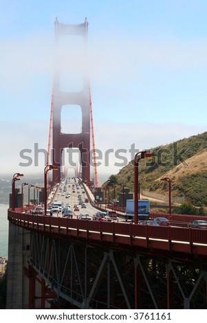 Golden Gate Bridge with traffic - stock photo