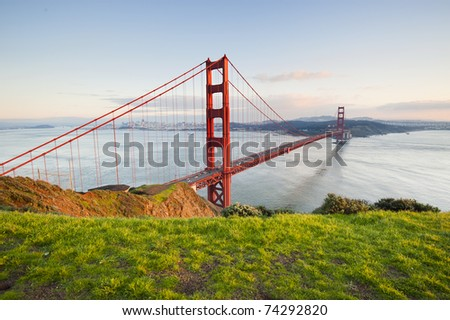 Golden Gate in clear blue sky with green grass as foreground. San Francisco, USA