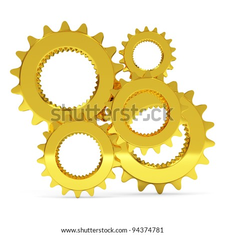 Golden Gears on white background