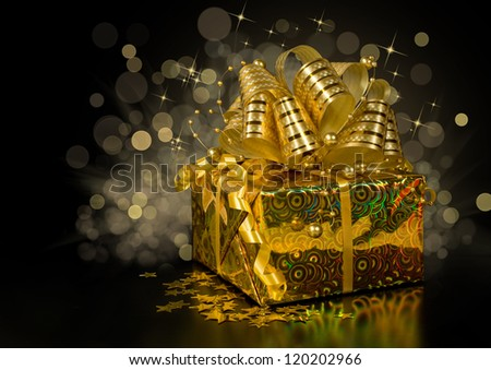 golden gift box with confetti in the shape of stars on a dark background with lights