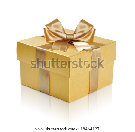 Golden gift box with golden ribbon over white background. Clipping path included.