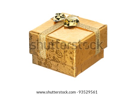 Golden gift box with ribbon and bow on white background