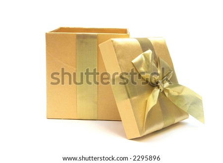 golden gift opened up over white    Can simply add something into the box