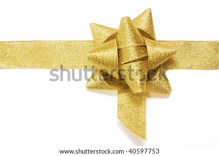 golden gift ribbon and bow isolated over white. some other you may also like