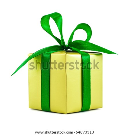 Golden gift wrapped present with green satin ribbon bow isolated on white