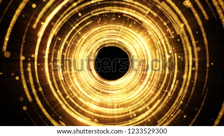 Golden glamour tunnel with lights and particles. Magic dust in the center. Abstract background for celebration.