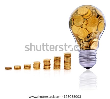 Golden  glass lightbulb  creative symbol  of  business, renewable energy sources