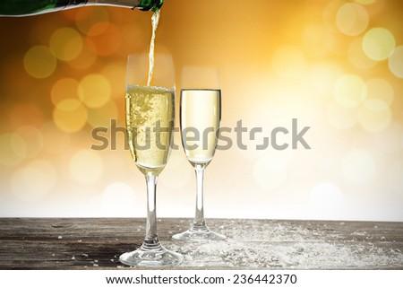 golden glasses of champagne  #236442370