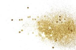 Golden glitter and glittering stars on white background