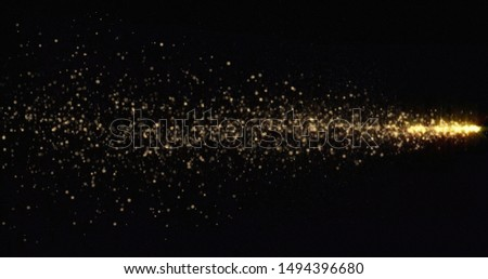 Golden glitter light comet trail, sparkling shine tail wave. Gold glittering shimmer, magic glowing golden glitter with light particles sparks