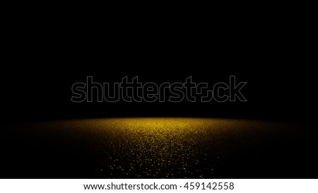 golden glitter on a flat surface lit by a bright spotlight (3d illustration)