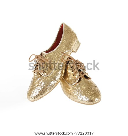 golden glitter shoes isolated on white