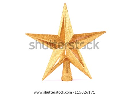 Golden glittering star shaped Christmas ornament isolated on white background