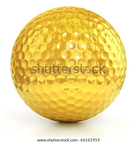 golden golf ball isolated over white background