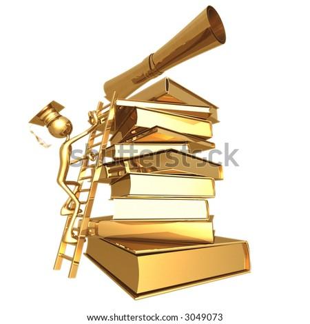 golden grad climbing a ladder to a diploma graduation concept stock photo 3049073 shutterstock. Black Bedroom Furniture Sets. Home Design Ideas
