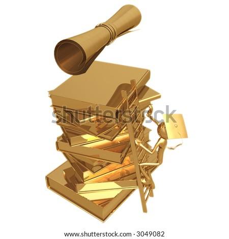 golden grad climbing a ladder to a diploma graduation concept stock photo 3049082 shutterstock. Black Bedroom Furniture Sets. Home Design Ideas