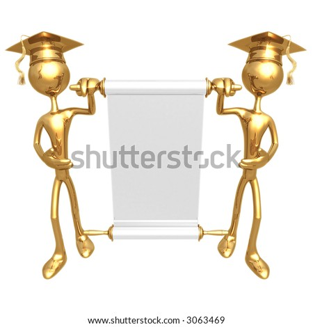 Golden Grad's Presenting A Blank Scroll Graduation Concept