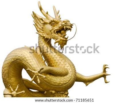 Golden gragon statue in white background