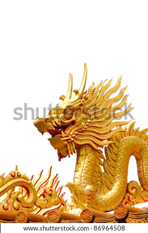 Golden gragon statue isolated on white background