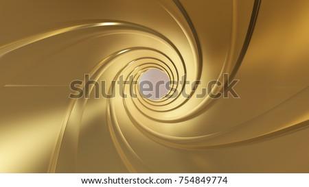 Golden gun barrel,high resolution 3d rendering