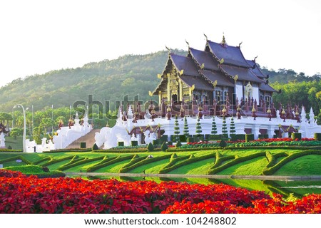 Golden hall,the landmark of Chiang Mai,Thailand