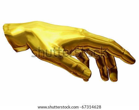 golden Hand with gesture of  Adam out of the painting of Michelangelo, Sistine Chapel Rom