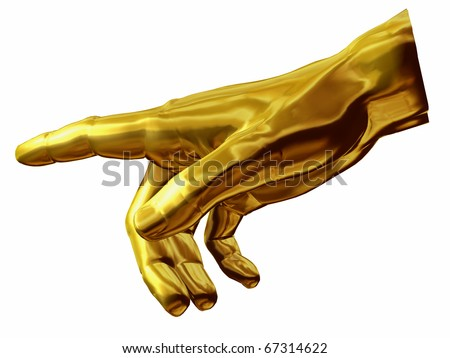 golden Hand with gesture of god out of the painting of Michelangelo, Sistine Chapel Rom