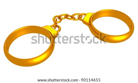 stock photo Golden handcuffs in the form of wedding rings