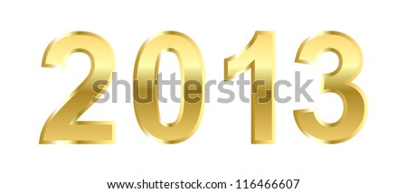 Golden 2013 Happy New Year greeting card on white background. - stock photo