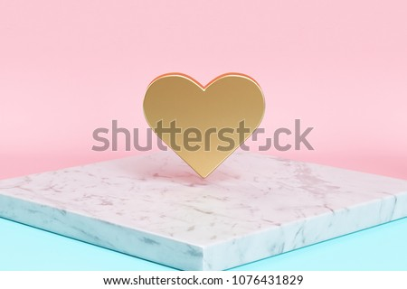 Golden Heart Icon on the Candy Background . 3D Illustration of Golden Symbol Love, Love, Romantic, Cute, Lovely, Romance Icons on Pink and Blue Color With White Marble.