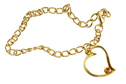 Golden heart shape pendant on chain isolated on white background