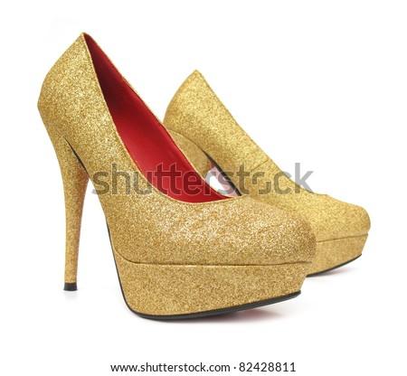 golden high heels pump shoes stock photo 82428811. Black Bedroom Furniture Sets. Home Design Ideas