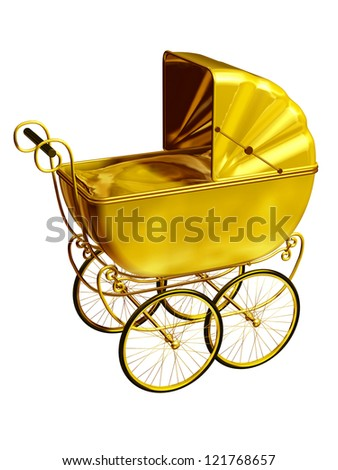 golden, historical children push chair - stock photo