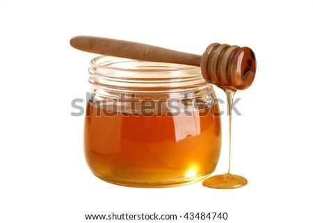 golden honey isolated on white background