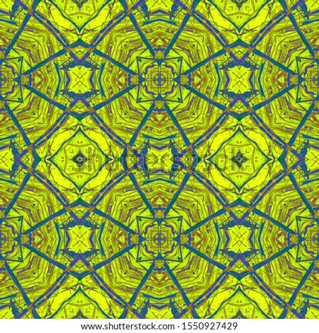 Golden Horizontally seamless design. Ornamental Geometry. Ornate Tile Background Golden Black Dressing element Antique Element Bright Kaleidoscope Effect. Floral Elements Floral Elements