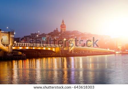 Golden Horn against Galata tower, Istanbul, Turkey  #643618303