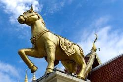Golden horse sculpture in Thailand