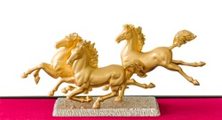 Golden Horse Statue on white background.