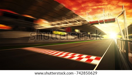 Golden Hour motion blur race track #742850629