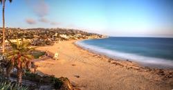 Golden Hour over the ocean through a neutral density filter at Main Beach in Laguna Beach, California, USA
