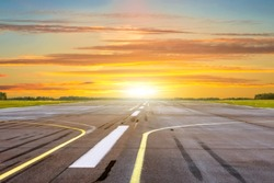 Golden hour time of shine sunset with landscape airport of runway