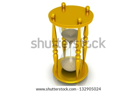 golden hourglass, sandglass, sand timer, sand clock isolated on the white background 3d illustration