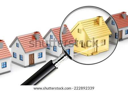 golden house search magnifying glass isolated white background