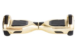 Golden hoverboard isolated on white background.Hover Board, Close Up of Dual Wheel Self Balancing Electric Skateboard Smart Scooter