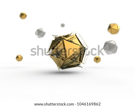 Golden icosahedron destroyed by the explosion into many small fragments surrounded by an array of icosahedra. Illustration isolated on white background, with depth of field. 3D rendering #1046169862