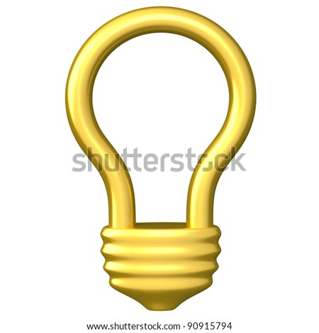 Golden idea light bulb icon 3d
