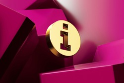 Golden Info Circle Icon With the Magenta Glossy Boxes. 3D Illustration of Fine Golden Action, Circle, Data, Info, Information Icon Set on the Magenta Geometric Background.