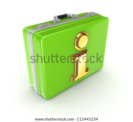 Golden info symbol on a green suitcase.Isolated on white background. 3d rendered.