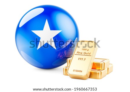 Golden ingots with Somali flag. Foreign-exchange reserves of Somalia concept. 3D rendering isolated on white background Zdjęcia stock ©
