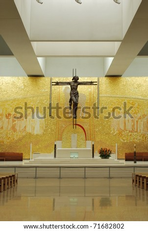 golden interior of the new Cathedral on the Sanctuary of Fatima, Portugal